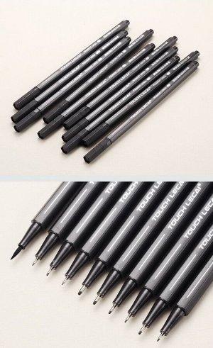 Набор капиллярных ручек (линеров) Pigment Liner (10 шт, черные, 0.2-1 мм)