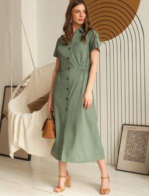 Платье из летящего 100% хлопка с резинкой на талии