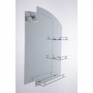 Зеркало в ванную комнату, двухслойное Ассоona, 80?60 см, A613, 3 полки