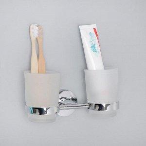 Держатель для зубных щёток, настенный, Accoona А11304, 2 стакана, стекло, цвет хром
