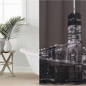 Штора для ванной комнаты Доляна «Манхэттен», 180?180 см, полиэстер