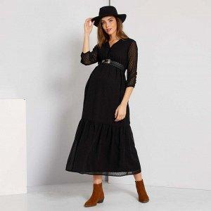 Длинное платье для беременных - черный