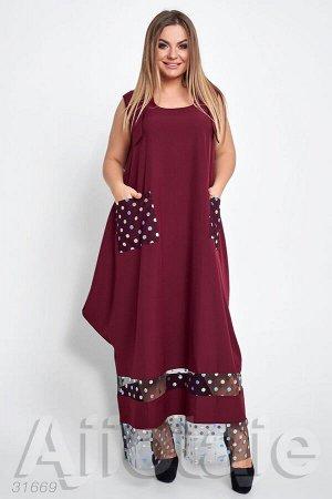 Летнее платье макси бордового цвета
