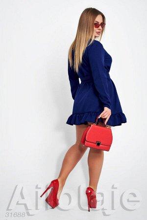 Платье мини с запахом синего цвета