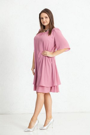 Платье Ткань: шифон однотонный. Платье свободного покроя, на подкладке. Рукав 3/4. Длина ок.110 см.  Состав:п/э 100%