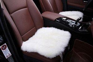 Накидка на сиденье без спинки меховая, 43 х 45 см - VA179