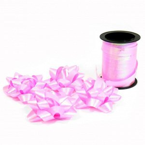 Набор для упаковки подарка: лента 10 м + 4 банта розовый перламутр
