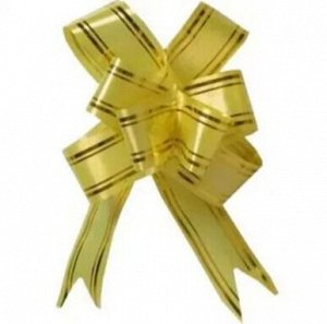 Бант-затяжка 1,8 см с золотой полосой дл.39 см
