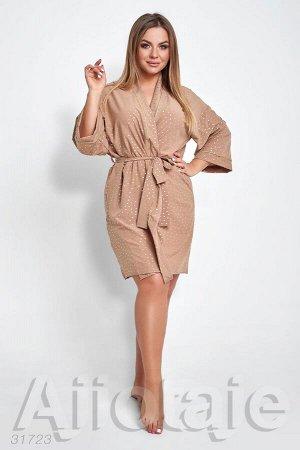 Домашний халат с запахом цвета мокко