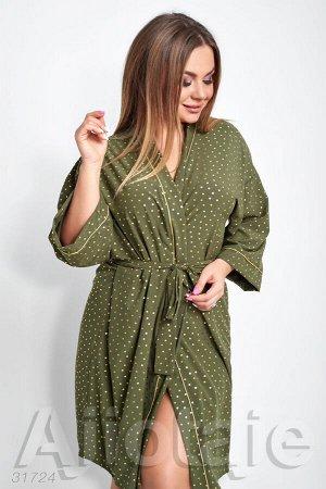 Домашний халат с запахом цвета хаки