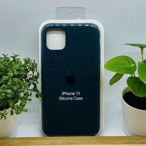 Силиконовый чехол для IPHONE 11 цвет № 49 темно-зеленый (все наклейки,лого вырезан, микрофибра,не пачкается,улучшенное качество)