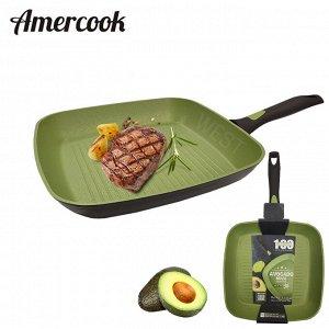 """Сковорода - гриль с антипригарным покрытием Amercook """"Avocado Nova"""" / 28 см"""