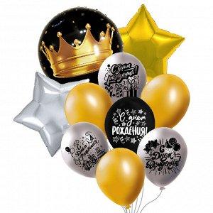 Набор шаров Букет 10 шаров СДР!Графика! (3 фольги+4латекс/рис+3латекс б/рис)
