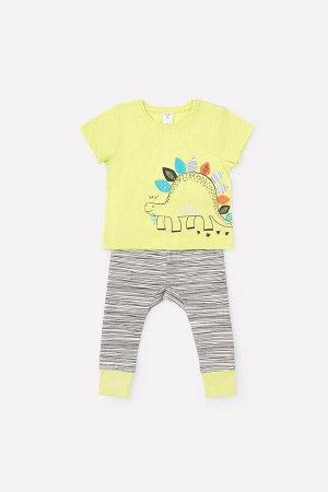 Комплект(Весна-Лето)+baby (фисташковый, цветные динозавры)