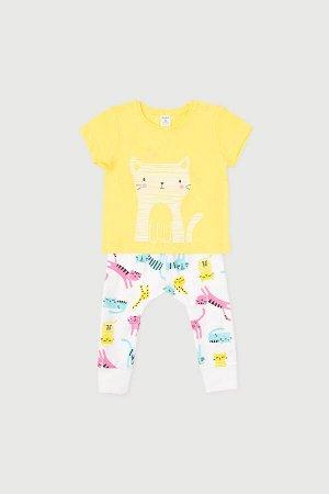 Комплект(Весна-Лето)+baby (желтый, цветные котята)