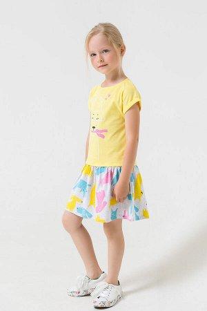 Платье(Весна-Лето)+girls (солнечный, св.серый меланж к1264)