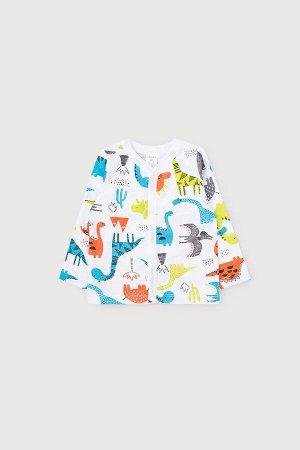 Кофточка(Весна-Лето)+baby (цветные динозавры на белом)