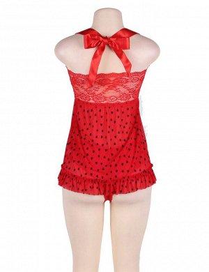 Очаровательная красный кружевной бебидолл с стрингами