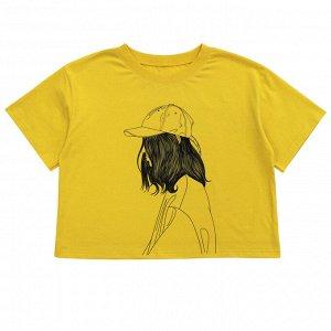 Футболка Стильная футболка для девочек. Модель оверсайз. Материал: 100% хлопок, кулирка Размеры: 34, 36, 38, 40, 42 Цвет - Шафрановый
