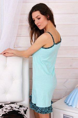 Сорочка женская Батерфляй, цвет бирюза, размеры 42-52