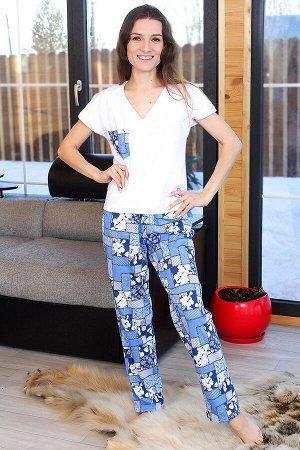 Пижама женская с брюками Подснежник, цвет голубой, размеры 42-48
