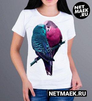 Женская футболка Влюбленные птички, цвет белый