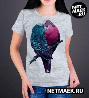 Женская футболка Влюбленные птички, цвет серый меланж