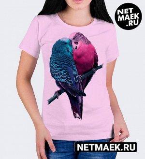 Женская футболка Влюбленные птички, цвет розовый