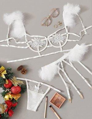 Сексуальное бюстье с перьями, аппликацией и вышивкой