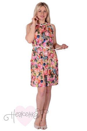 Платье П 700 (персиковый с принтом)