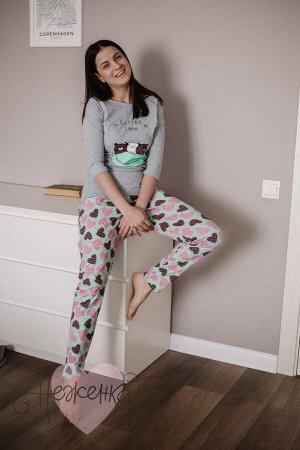 Женская пижама ЖП 057 (серый+сердечки на мятном)