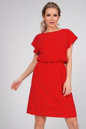 Платье Ульяна №30.Цвет:красный/мелкий горох