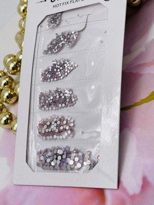 Камни в полоску Опал розовый  в ассортименте crystal hot fix flat back, trendy ( по размерам) SS1-Ss6 1440 шт .
