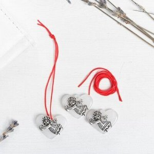 Набор талисманов на крас.нити «Ангел на сердце» 3 шт., белый, серебро, 2,5 х 2 см