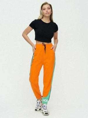 Штаны джоггеры женские оранжевого цвета 1309O
