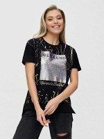 Женские футболки с принтом черного цвета 1173Ch