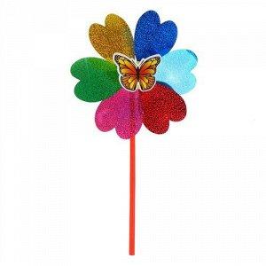 Вертушка Насекомые на цветке, голограмма, 42 см