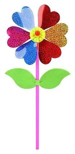 Вертушка Цветочек с липестками, голограмма, 35 см