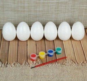 Набор яиц под раскраску 6 шт./5*7 см, краски 4 шт. по 3 мл, кисть ,18*20*5 см
