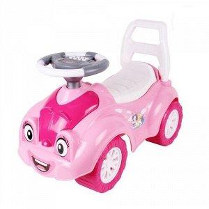 Автомобиль для прогулок (толокар) с музыкальным рулем  цв. розовый,65*44*31 см
