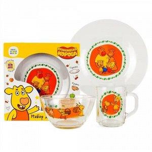 "Набор посуды 3 пред. ""Умка"" Оранжевая корова (кружка,тарелка,салатник),20*20*9 см"