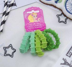 """Набор резинок для волос """"Махрушка"""" 6 шт.,  зеленые"""