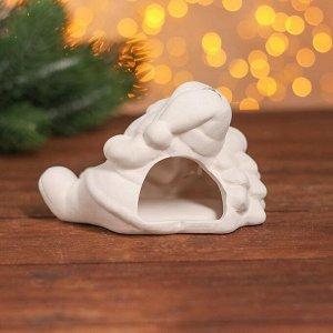 Набор для творчества подсвечник под раскраску «Дед Мороз с ёлкой» краски 6 шт. по 3 мл, кисть