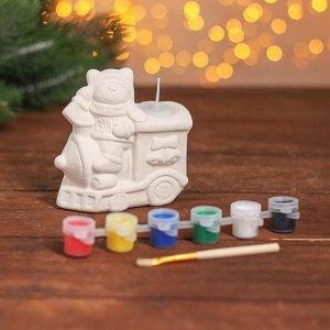Набор для творчества свеча под раскраску «Паровозик» краски 6 шт. по 3 мл, кисть