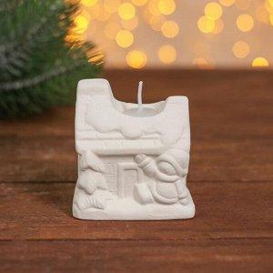 Набор для творчества свеча под раскраску «Домик со снеговиком» краски 6 шт. по 3 мл, кисть