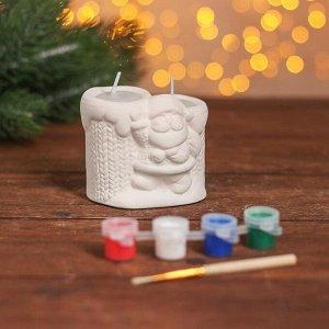Набор для творч свеча парная под раскраску «Дедушка Мороз» краски 4 шт. по 3 мл, кисть