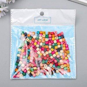 """Бусины для творчества дерево """"Разноцветные квадратные"""" набор 20 гр 0,5х0,5 см"""