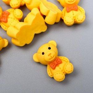 "Декор для творчества пластик ""Мишка с бантиком"" набор 12 шт МИКС 1,9х1,3 см"