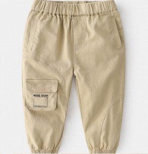Брюки для мальчика, карман с надписью, цвет кремовый