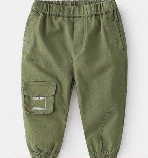 Брюки для мальчика, карман с надписью, цвет зеленый